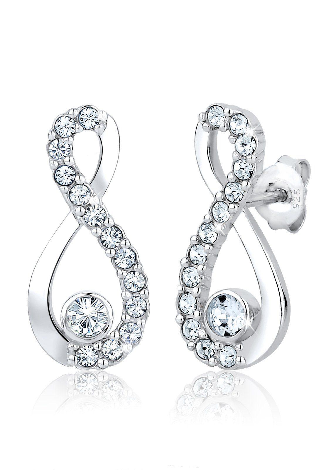 Elli Paar Ohrstecker »Infinity Swarovski® Kristalle 925 Silber«