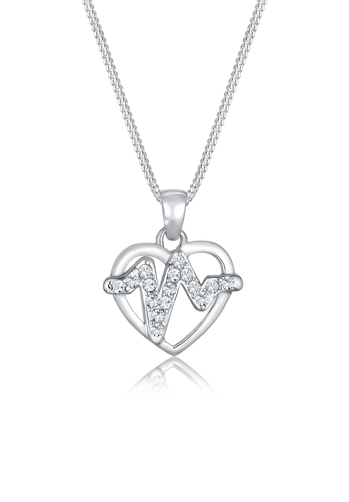 Elli Collierkettchen »Herz Herzschlag Swarovski® Kristalle Silber«