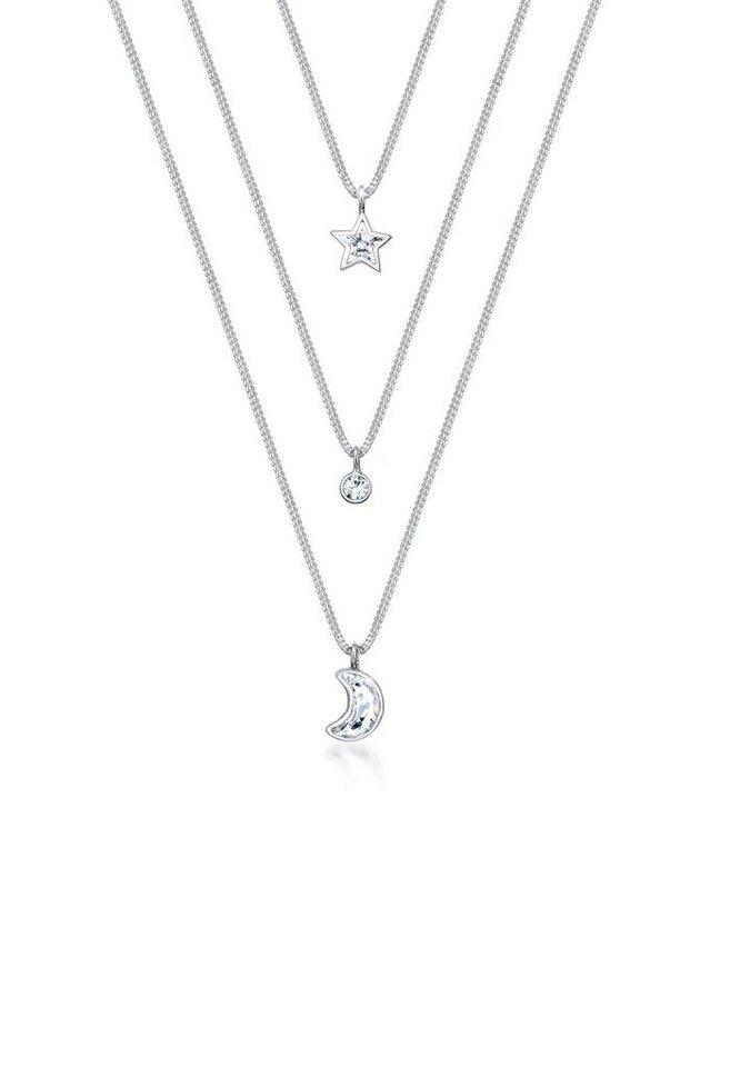 86a3f8ab2085 Elli Collierkettchen »Layer Mond Stern Swarovski® Kristalle 925 Silber«