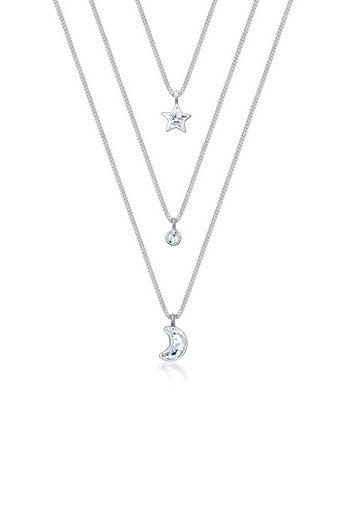 Elli Collierkettchen »Layer Mond Stern Swarovski® Kristalle 925 Silber«