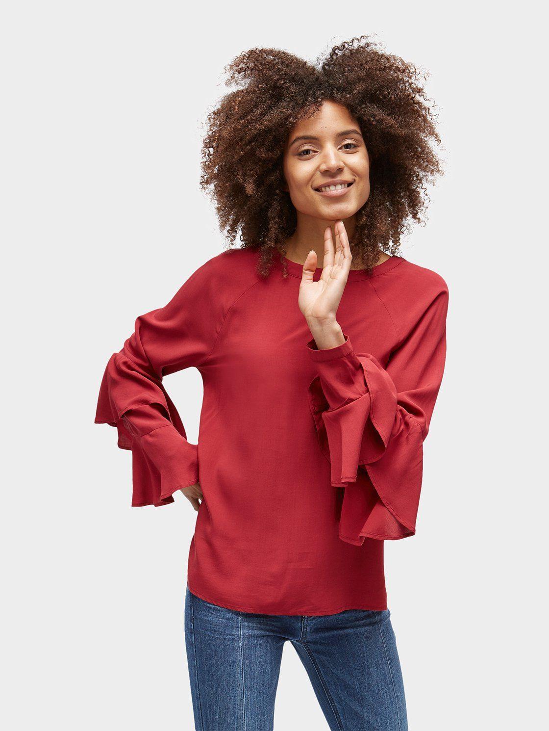 TOM TAILOR Shirtbluse »Naomi Campbell: Bluse mit Rüschenärmeln«