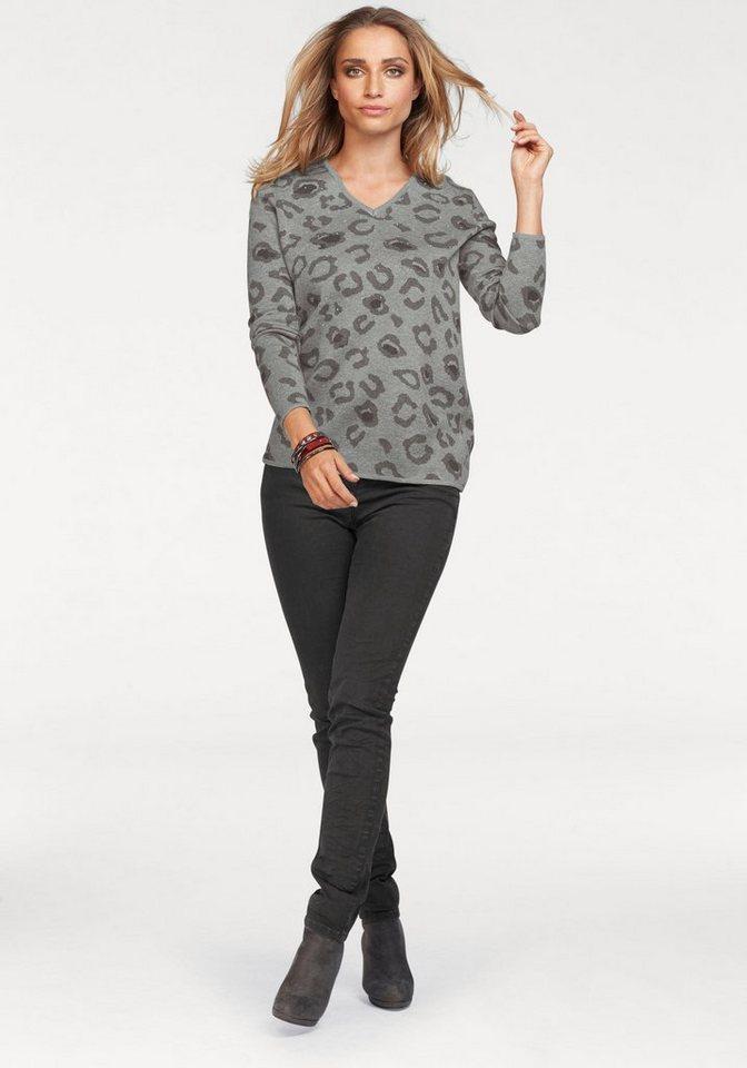 Aniston by BAUR V-Ausschnitt-Pullover im Animal-Print mit Glitzersteinchen