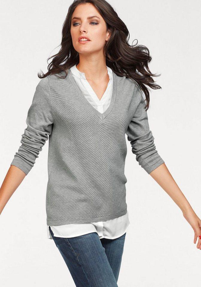 Vivance 2-in-1-Pullover in effektvollem Lagenlook | Bekleidung > Pullover > 2-in-1 Pullover | Grau | Vivance