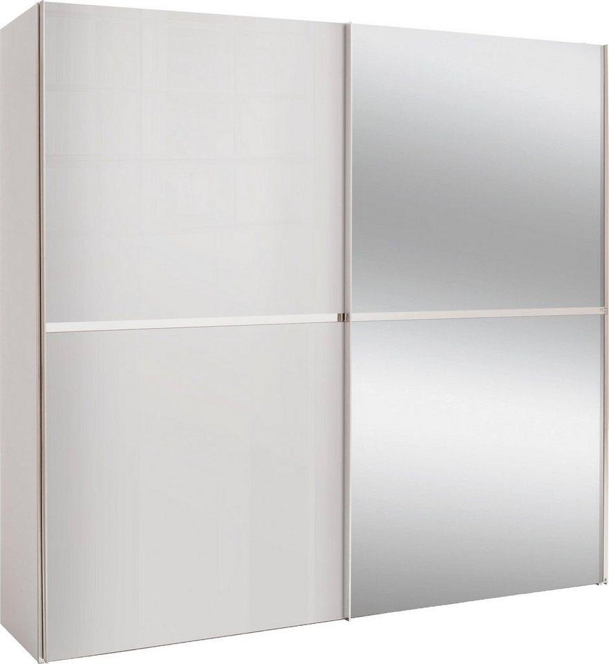 set one by Musterring Schwebetürenschrank dayton mit Glasfront und Spiegel in 3 Breiten weiß | 04060714348498