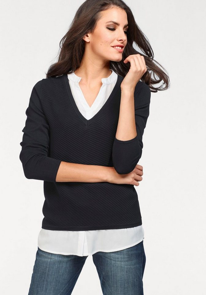 Vivance 2-in-1-Pullover in effektvollem Lagenlook | Bekleidung > Pullover > 2-in-1 Pullover | Blau | Vivance