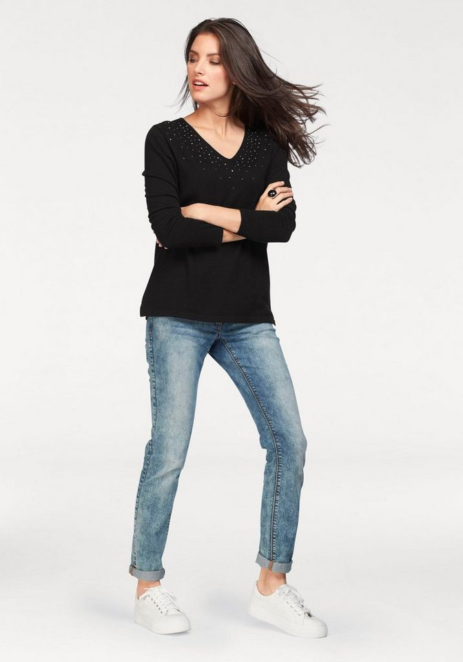 Tamaris V-Ausschnitt-Pullover mit Zierschmucksteinchen am Ausschnitt