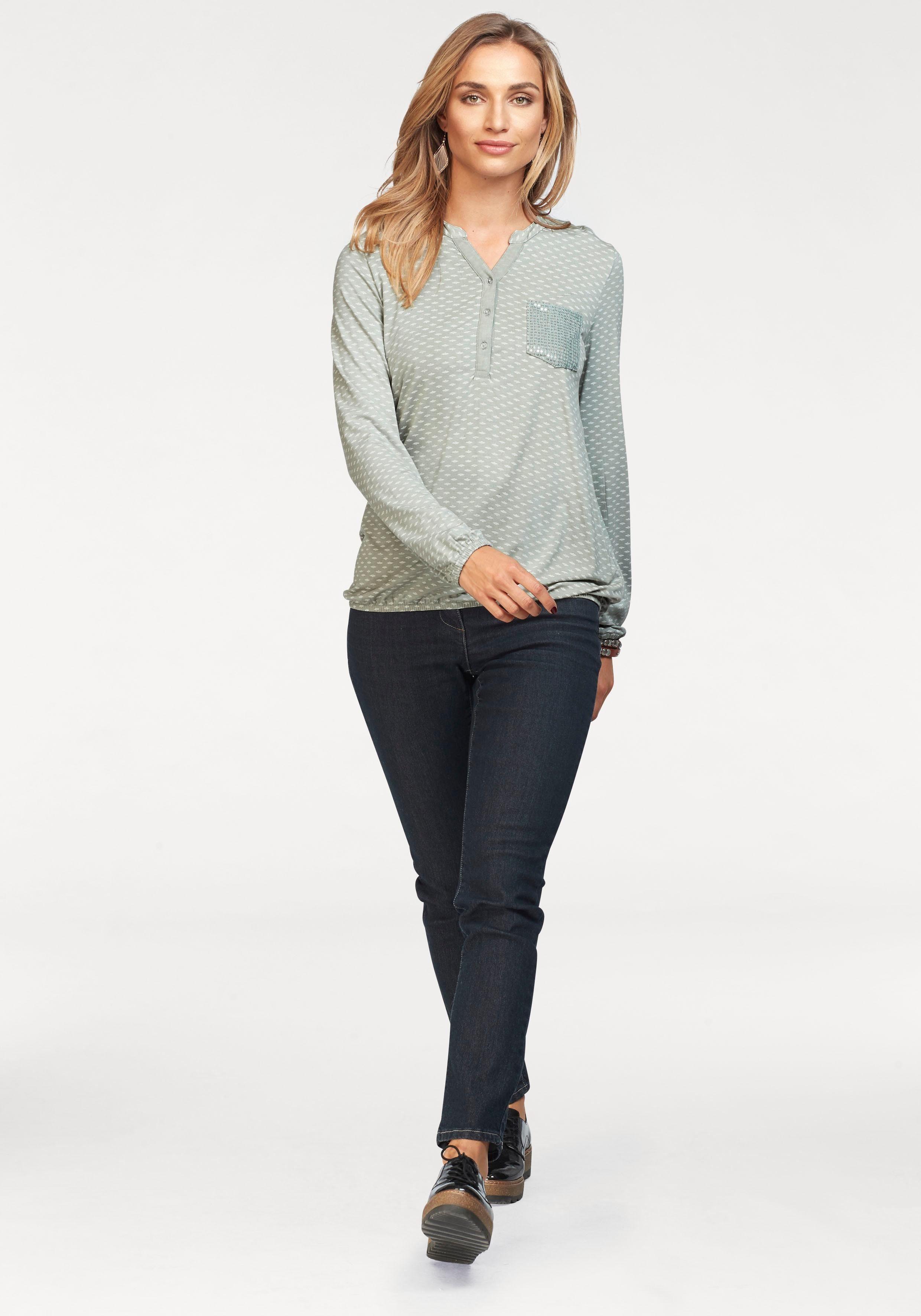 Mit Shirtbluse By Pailletten Baur Verziert Aniston t1qvw