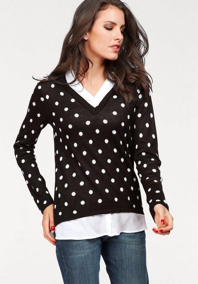 Vivance 2-in-1-Pullover in effektvollem Lagen-Look   Bekleidung > Pullover > 2-in-1 Pullover   Schwarz   Vivance