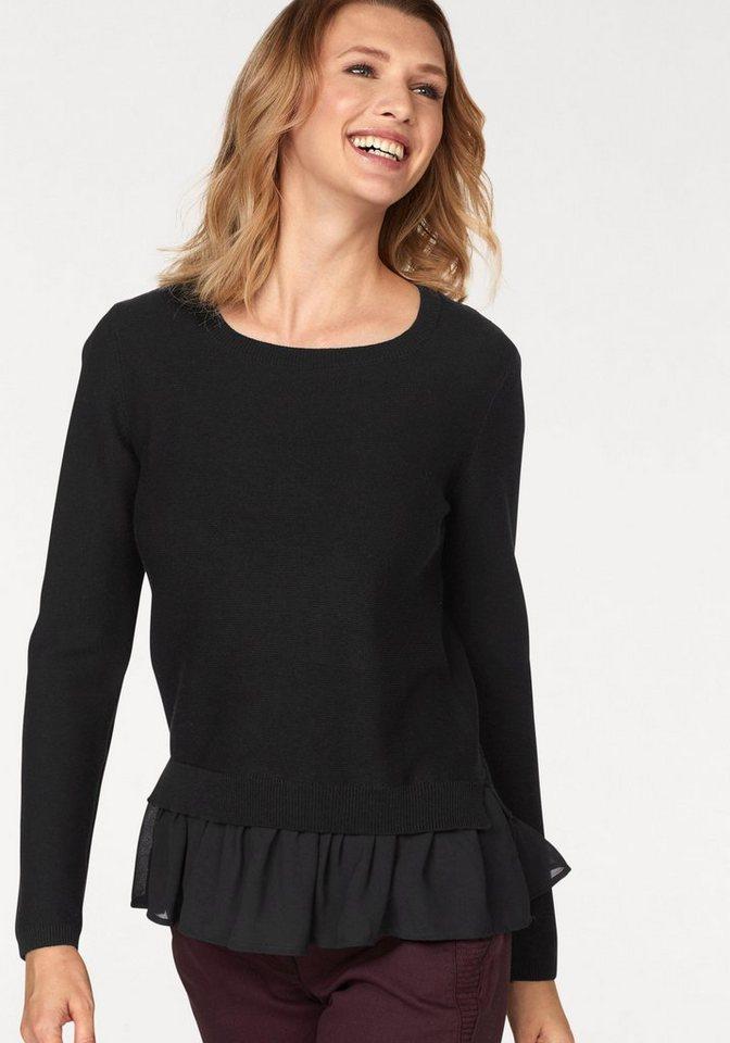 Cheer 2-in-1-Pullover mit Webeinsatz am Saum   Bekleidung > Pullover > 2-in-1 Pullover   Schwarz   Cheer