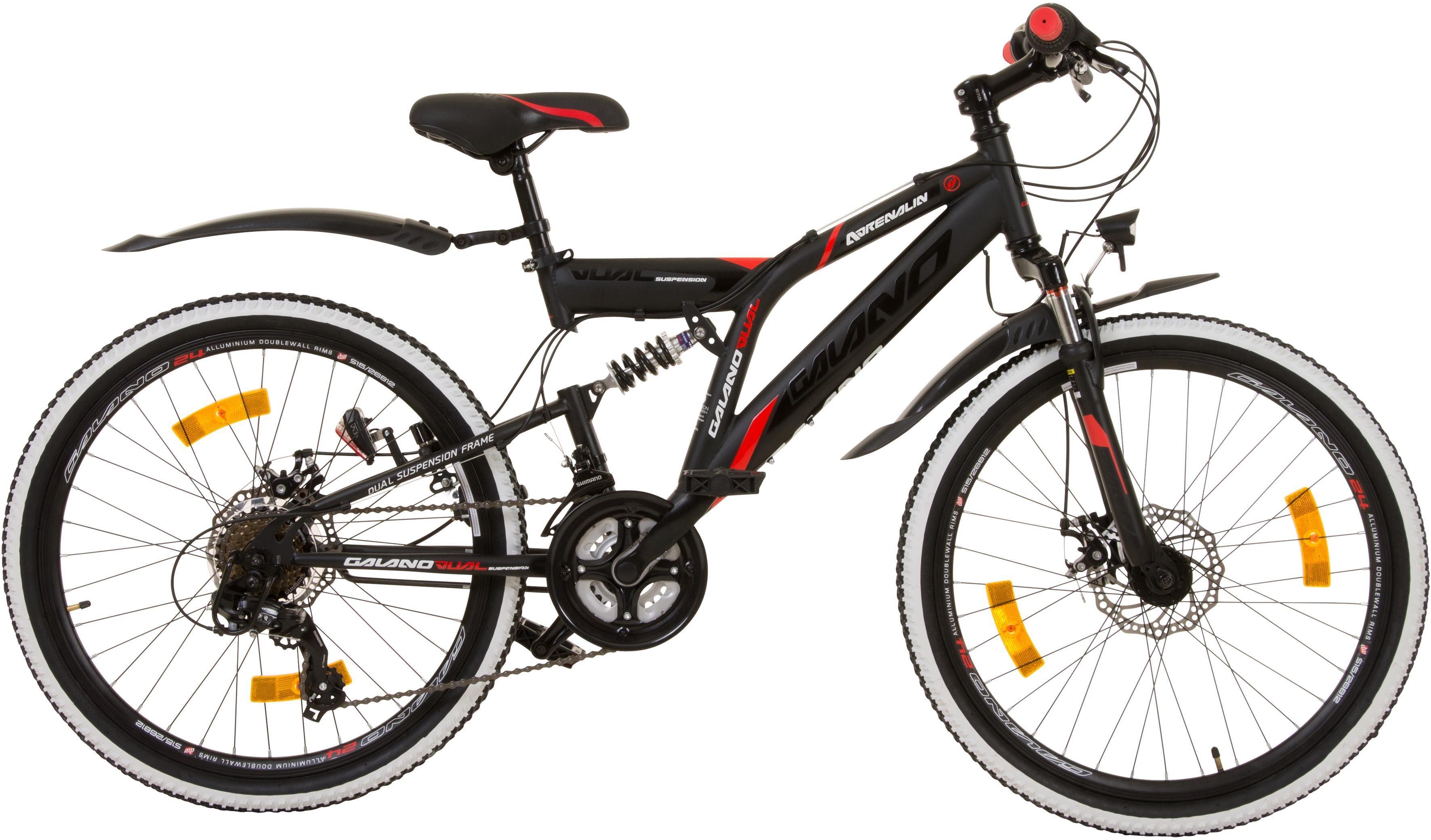 Galano Mountainbike »Adrenalin DS«, 21 Gang Shimano Tourney Schaltwerk, Kettenschaltung