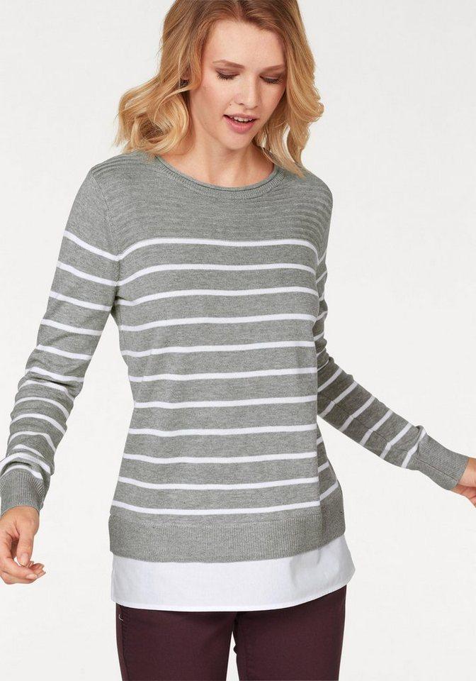 Cheer 2-in-1-Pullover mit Bluseneinsatz | Bekleidung > Pullover > 2-in-1 Pullover | Grau | Cheer