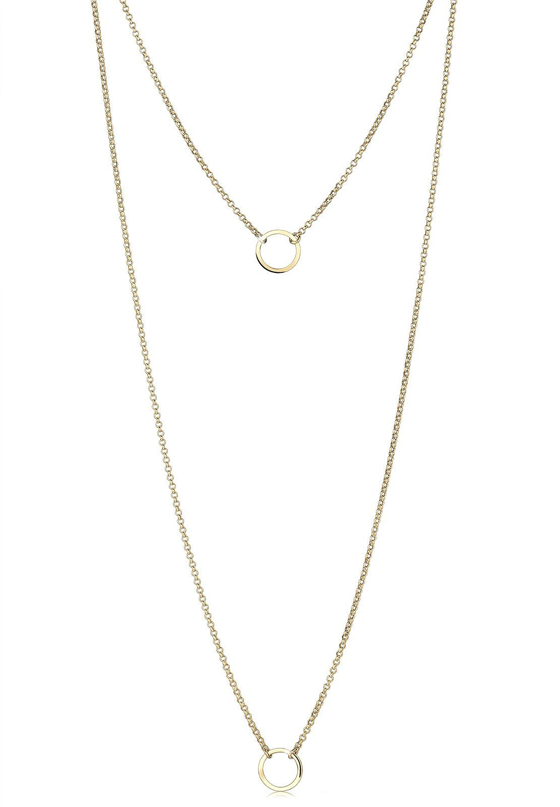 Elli Lange Kette »Layering Doppelkette Kreis 925 Sterling Silber«