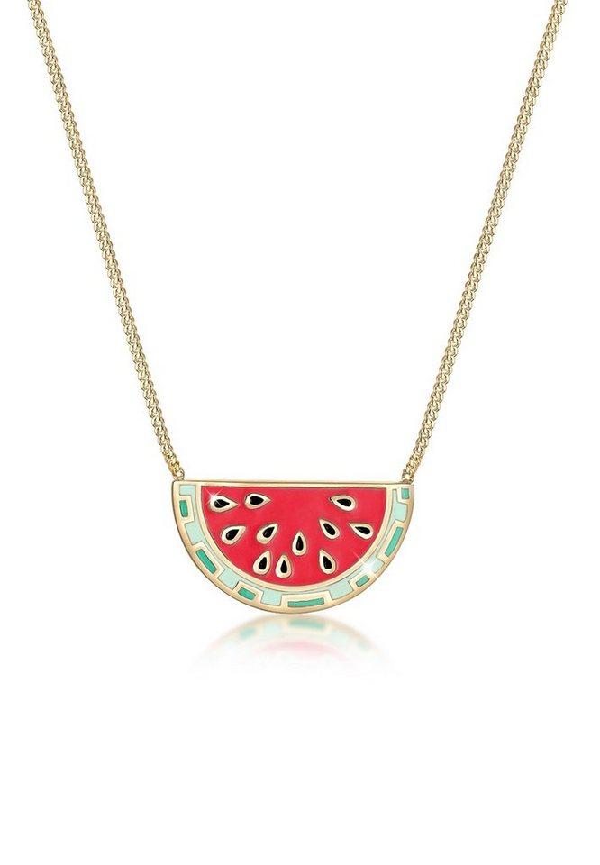4241966ccdff Elli Collierkettchen »Melone Frucht Sommer Emaille 925 Sterling Silber«