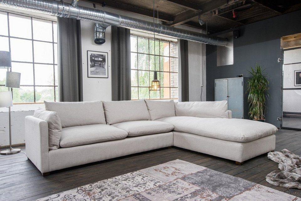 Kasper Wohndesign Ecksofa Lounge Stoff Hellgrau Recamiere Melina