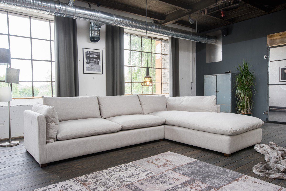 Kasper-Wohndesign Ecksofa Lounge Stoff hellgrau Recamiere »Melina«