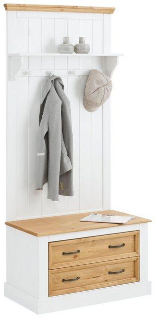 Garderoben Sets - Home affaire Kompaktgarderobe »Selma«, mit Hutablage, mehreren Haken aus Holz und zwei Schubladen , Breite 80 cm  - Onlineshop OTTO