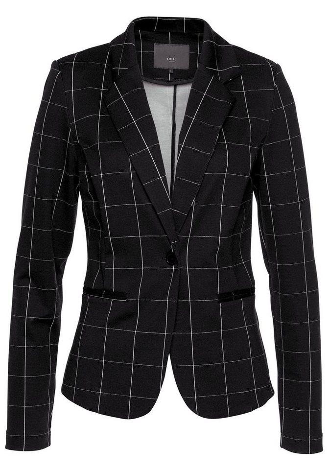 Ichi Kurzblazer »Kate Square« im trendigem Karo-Dessin   Bekleidung > Blazer > Kurzblazer   Schwarz   Ichi