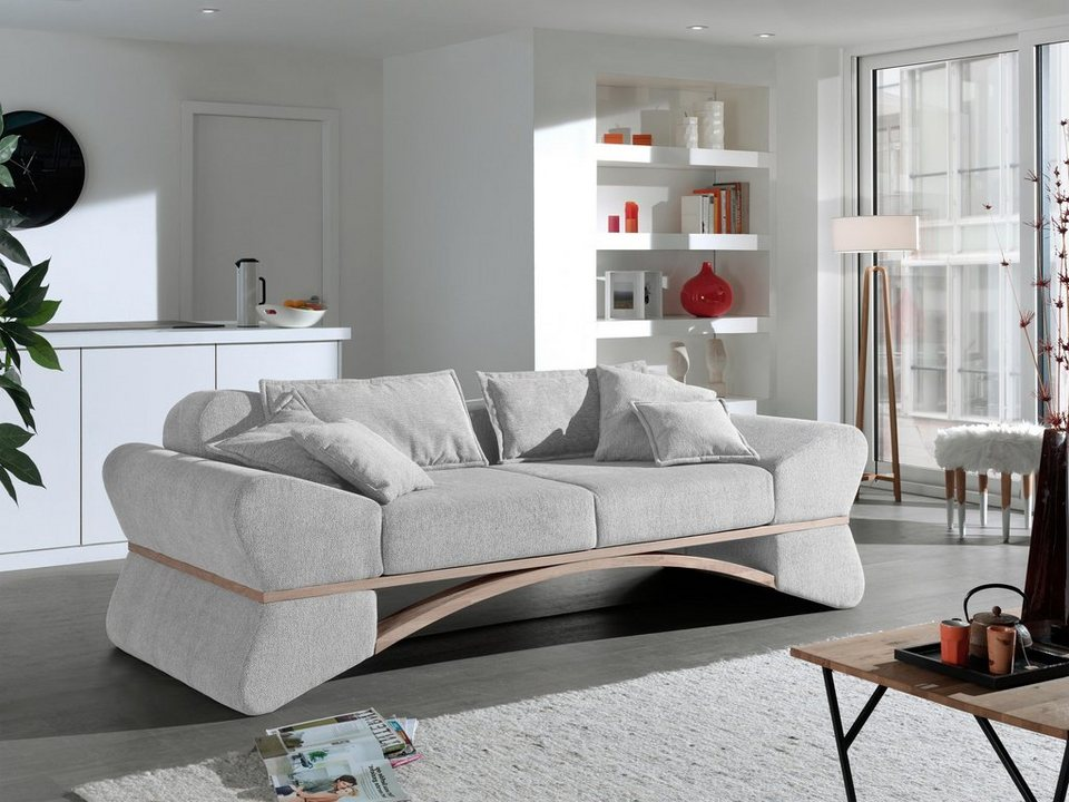 inosign big sofa libra in ungew hnlichem design mit geschwungenem holz online kaufen otto. Black Bedroom Furniture Sets. Home Design Ideas