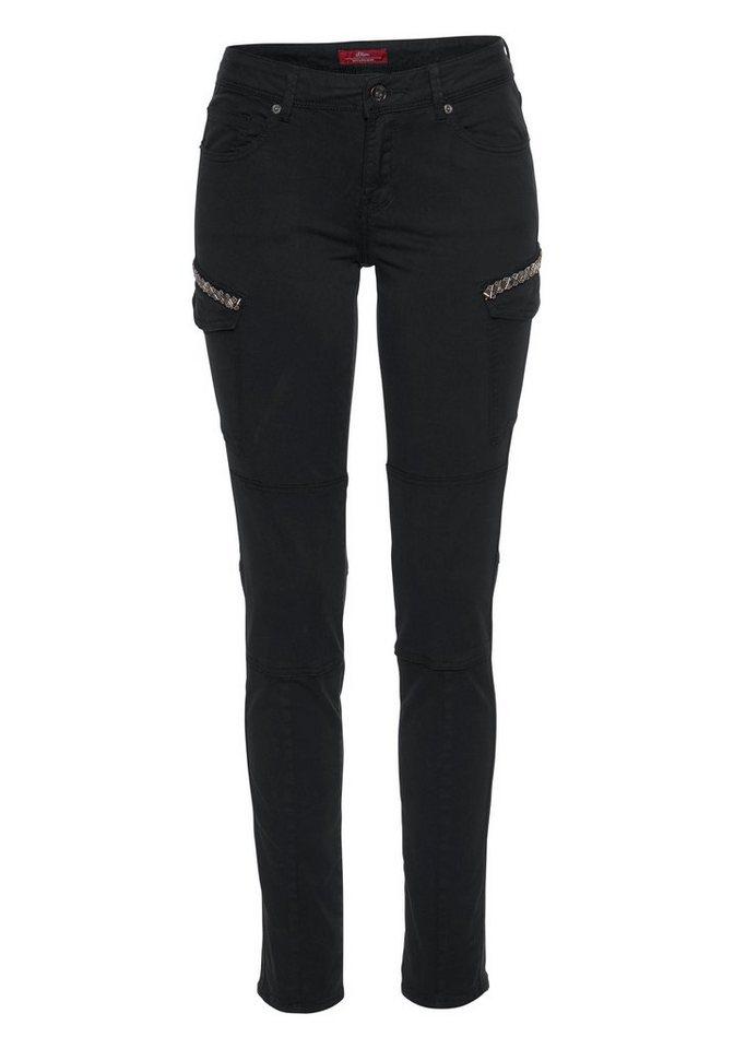 s.Oliver RED LABEL Cargojeans mit Perlen-besetzten Taschen | Bekleidung > Jeans > Cargojeans | Schwarz | s.Oliver RED LABEL