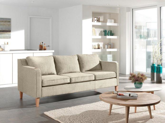 Home affaire 3-Sitzer »Aries«, mit Keder und Holzfüßen