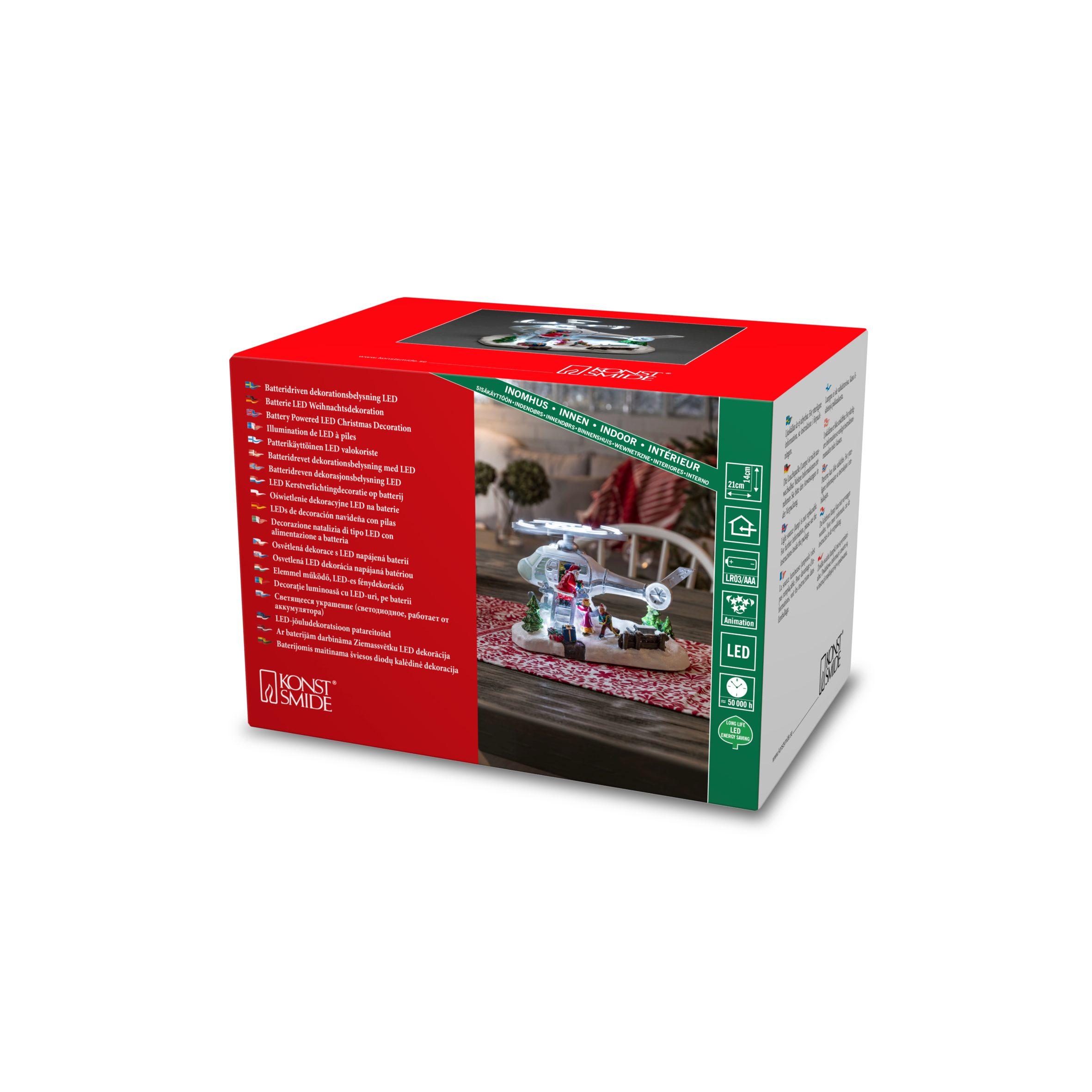 Konstsmide LED Szenerie Helikopter mit Weihnachtsmann