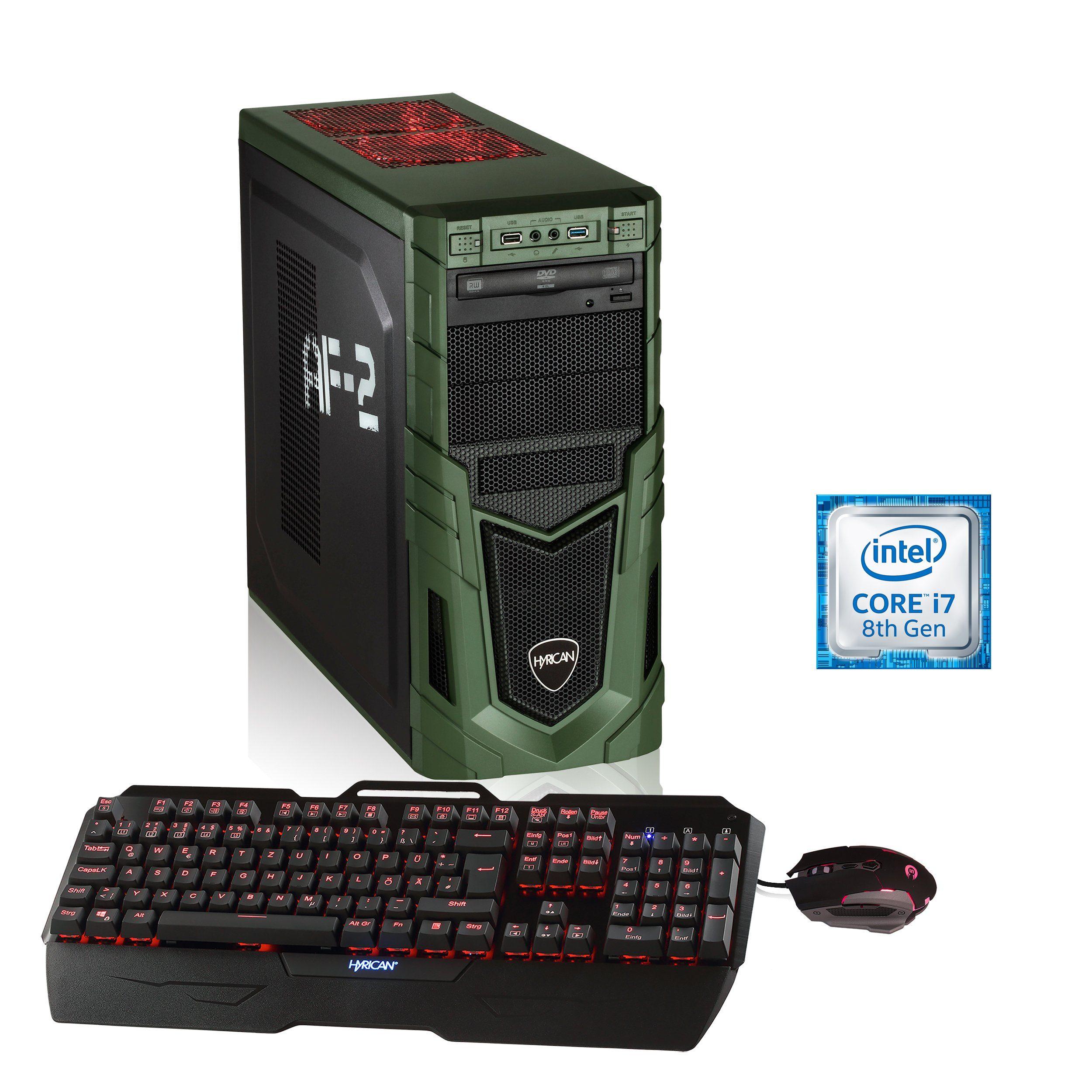 HYRICAN Gaming PC i7-8086K 16GB 250GB SSD, HDD + Optane, GTX 1070 Ti »Military Anniversary 5988«