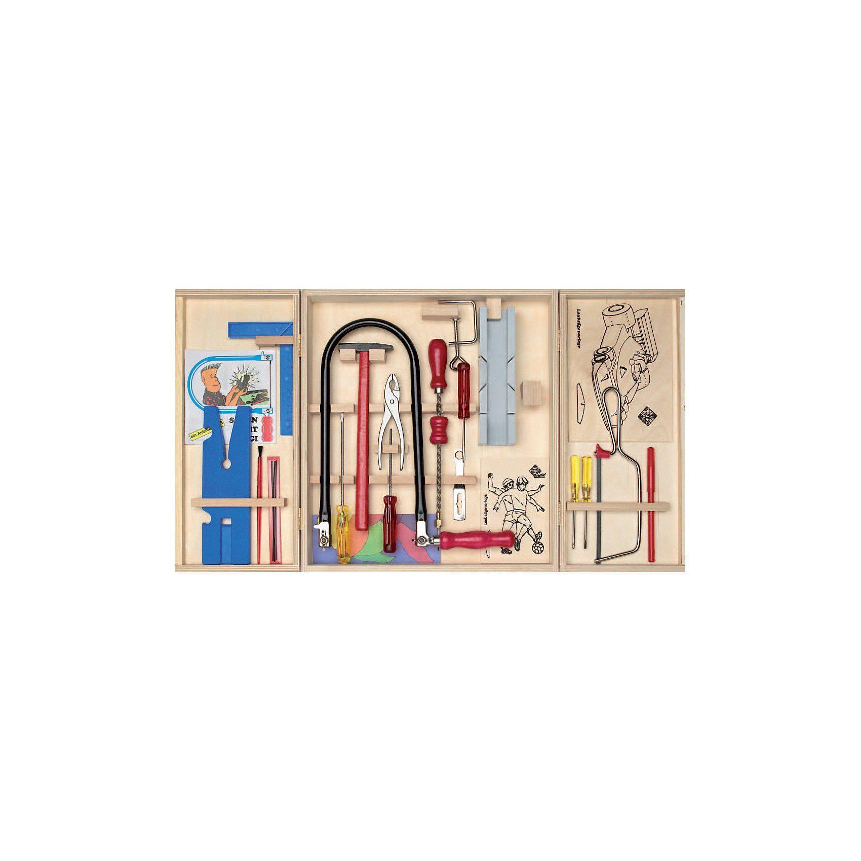 mit Farbkasten Laubsägeset in praktischer Holzschreinerkiste Pebaro 432S