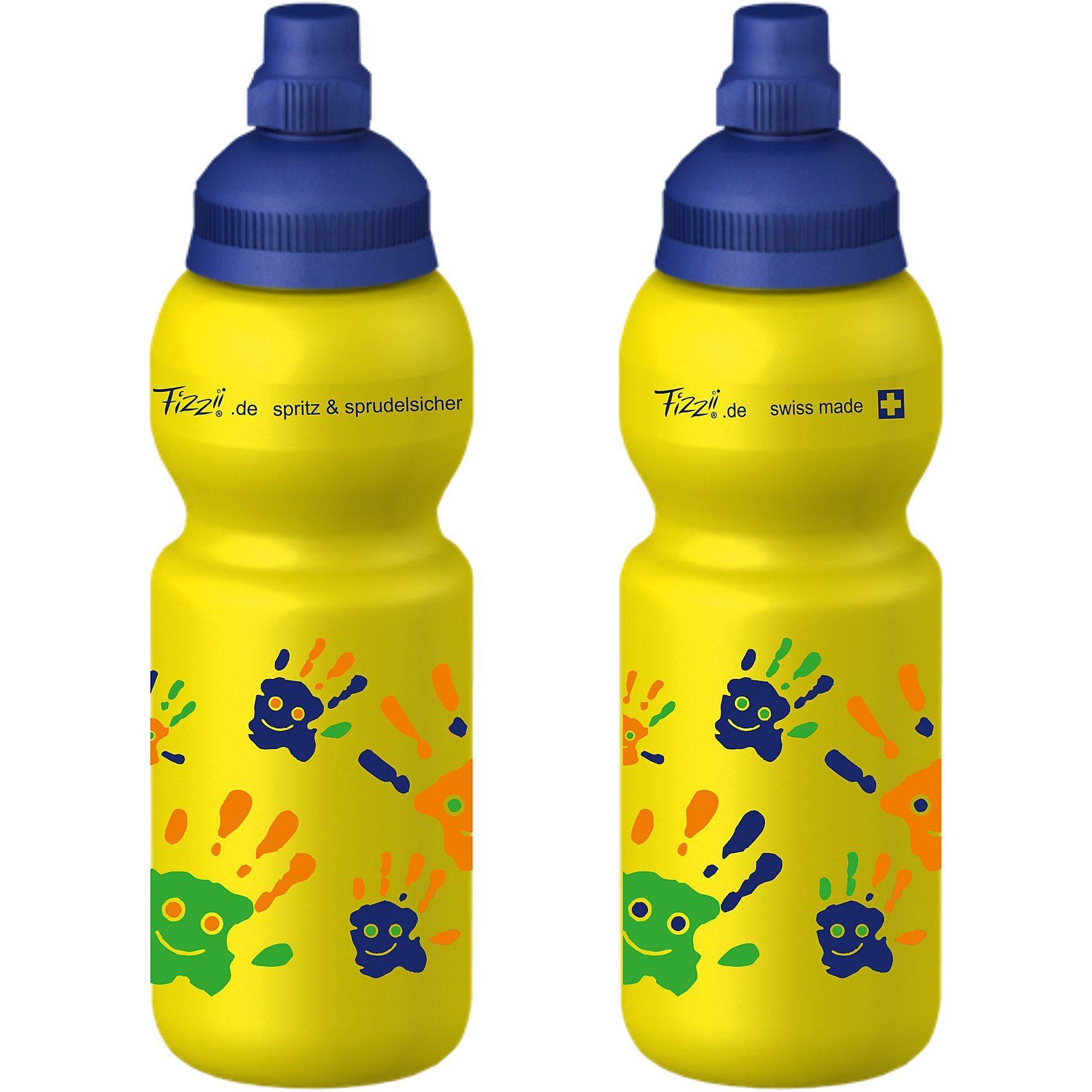 Fizzii Trinkflasche Hände, Gelb, 330 ml