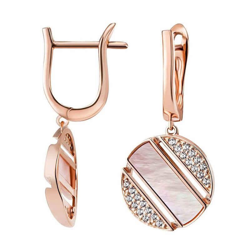 goldmaid Paar Ohrhänger 925/- Silber 58 Zirkonia 2 Perlmutt