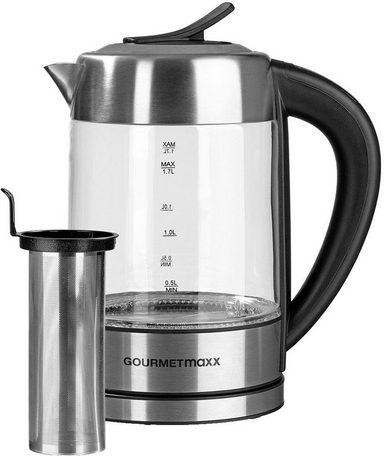 GOURMETmaxx Wasserkocher Teebereiter, 1,7 l, 2200 W, Glas LED/Temperaturwahl - Edelstahl/Schwarz