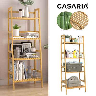 Casaria Standregal, Holzregal Bambus • 4 unterscheidlich große Ablagen • vielseitig einsetzbar • stabile Konstruktion • Holz mit Klarlack lackiert • sehr pflegeleicht