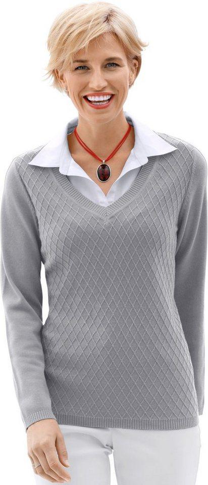 Casual Looks 2-in-1-Pullover mit V-Ausschnitt | Bekleidung > Pullover > 2-in-1 Pullover | Grau | Casual Looks
