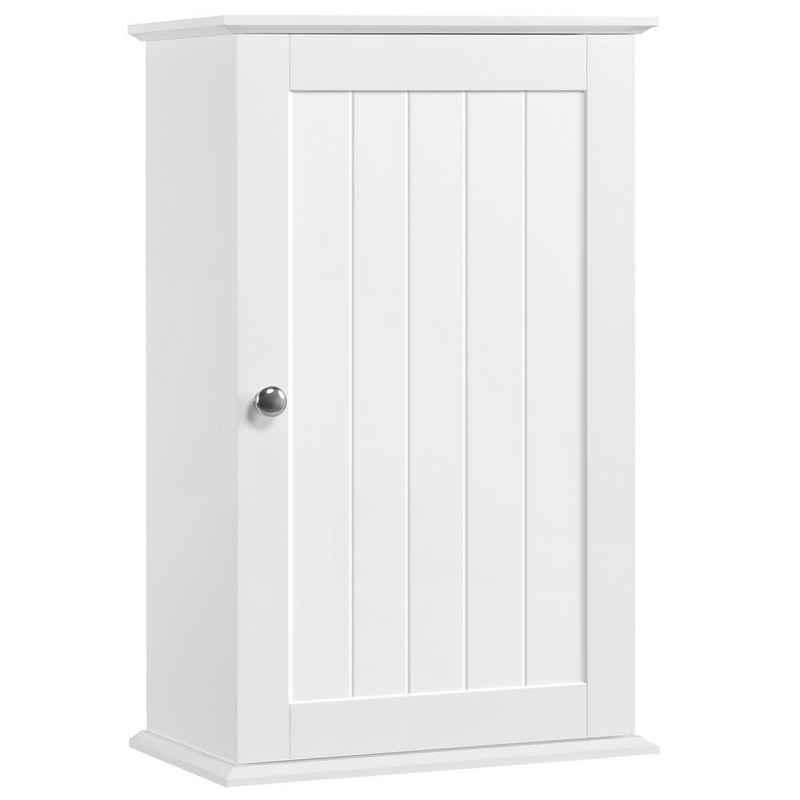 Yaheetech Hängeschrank Wandschrank mit Einer Tür, Badschrank, Küchenschrank, Medizinschrank in Weiß, 35 x 20,7 x 55 cm