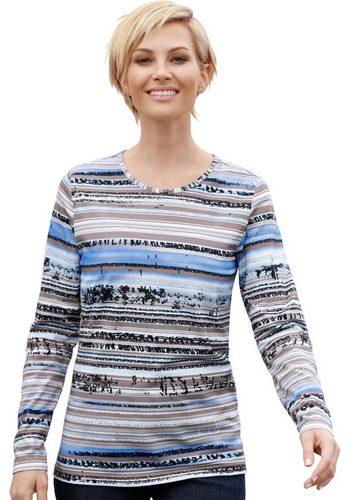 Damen Collection L. Shirt mit kombifreudigem Druckmuster blau | 08680851100092