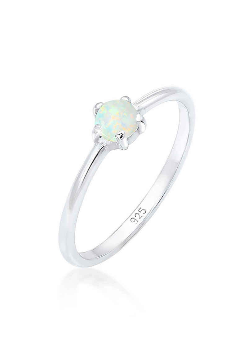 Elli Fingerring »Silberring mit synth. Opal rund 925er Silber«