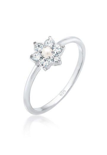 Elli Verlobungsring »Blume Floral Synthetische Perle 925 Silber«