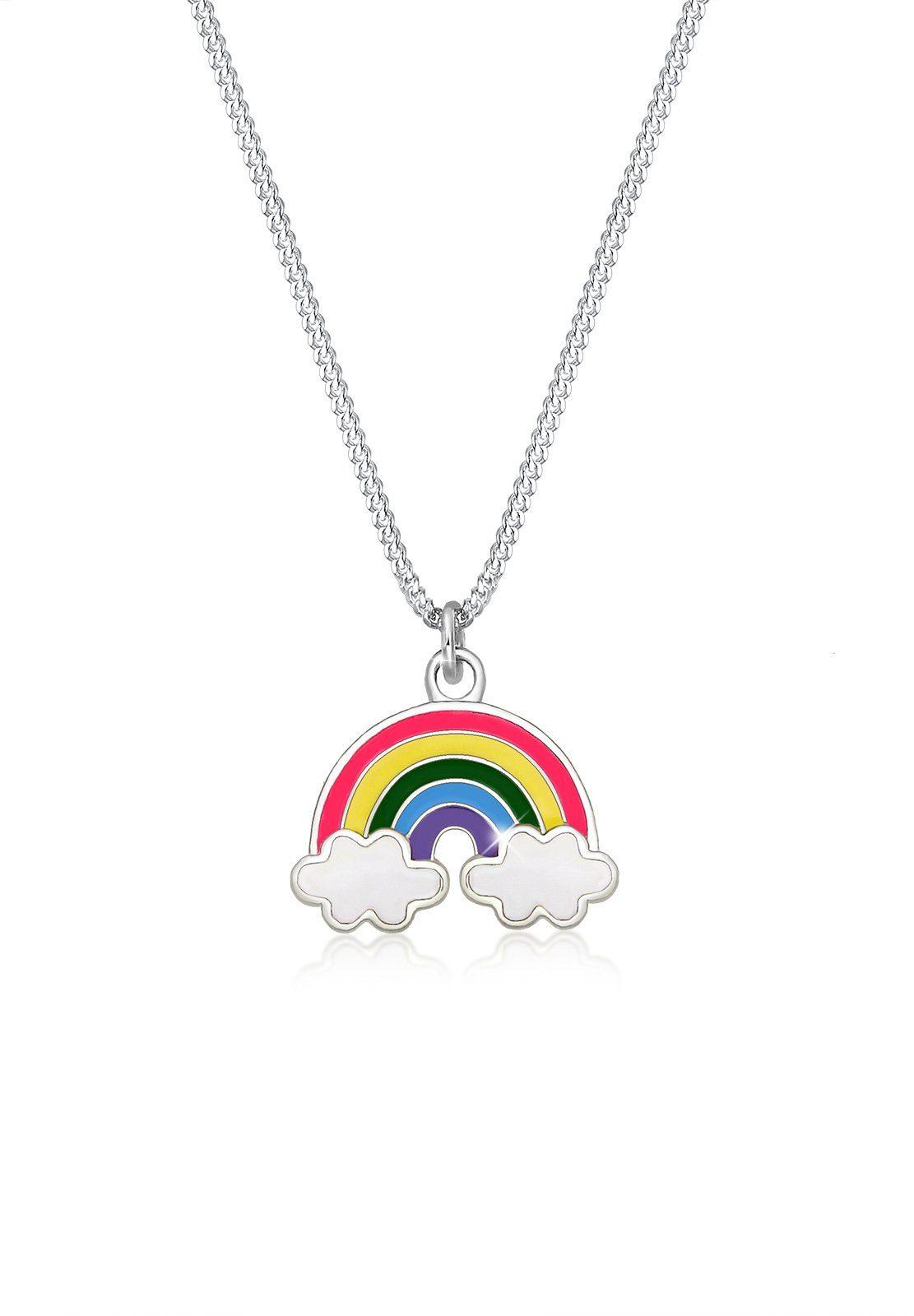 Elli Collierkettchen »Kinder Regenbogen Wolke Emaille Happy 925 Silber«
