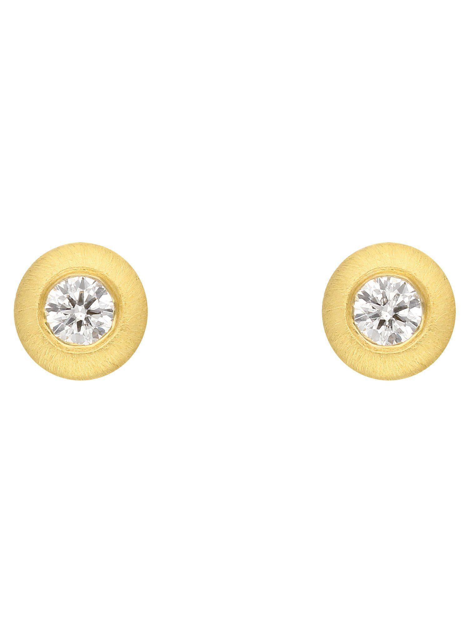 Adelia´s Paar Ohrstecker »Gold Ohrringe« 14 k 585 Gelbgold mit Brillant Ø 4.2 mm