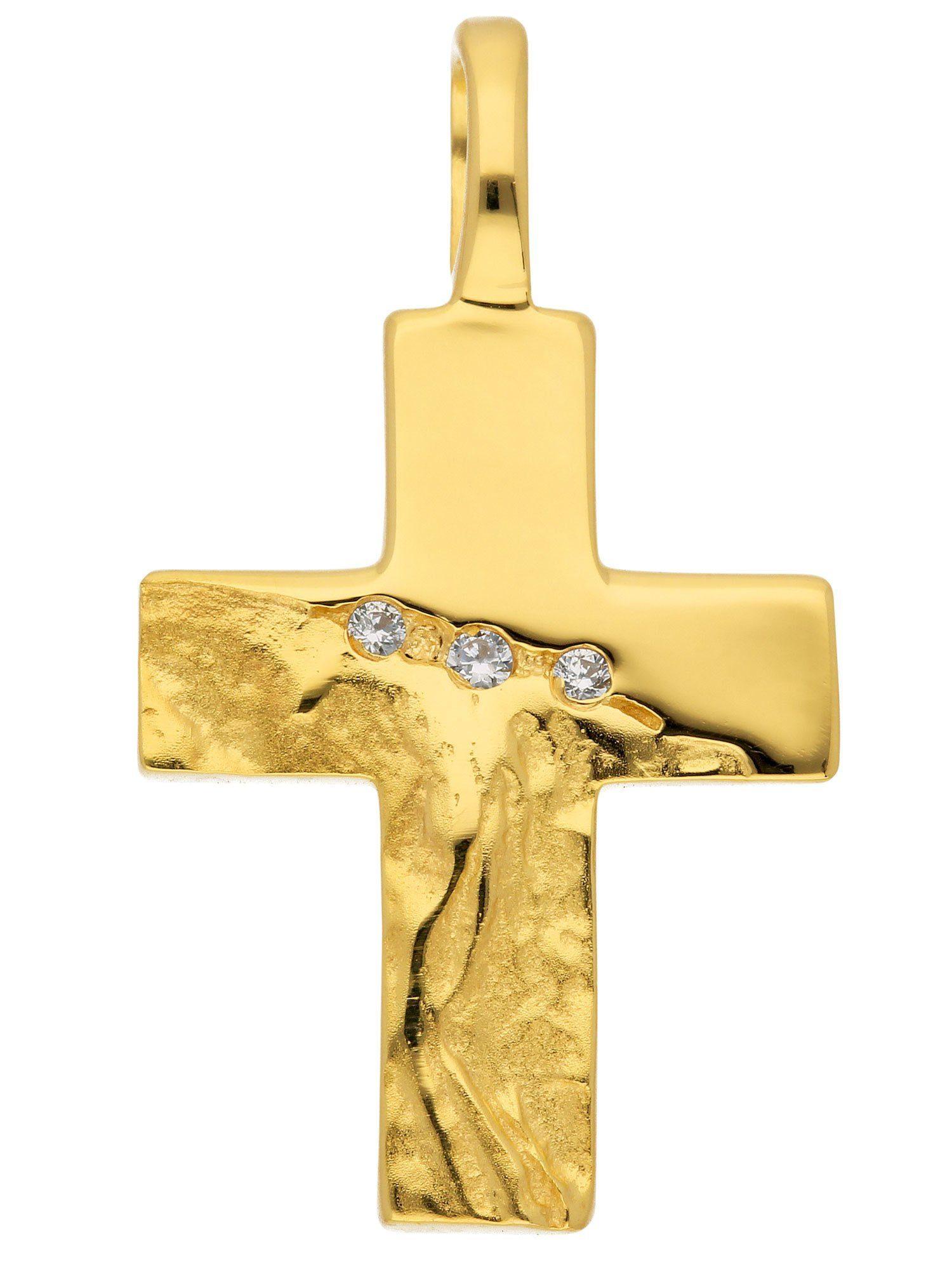 Adelia´s Kettenanhänger »Gold 8 k (333) Kreuz Anhänger« 8 k 333 Gelbgold mit Zirkonia