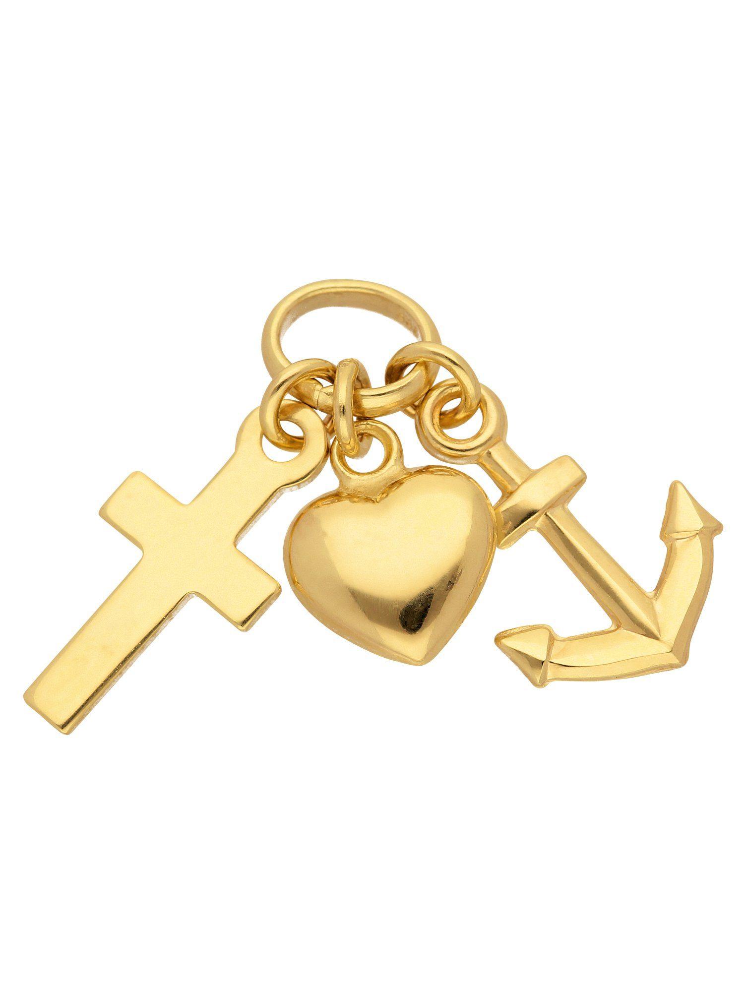 Adelia´s Kettenanhänger »Gold Anhänger« Glaube-Liebe-Hoffnung 8 k 333 Gelbgold
