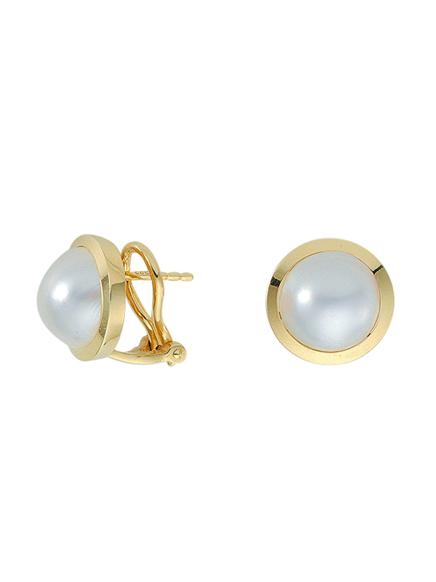 Adelia´s Paar Ohrhänger »Gold Ohrringe« 14 k 585 Gelbgold mit Mabeperle Ø 1.31 cm