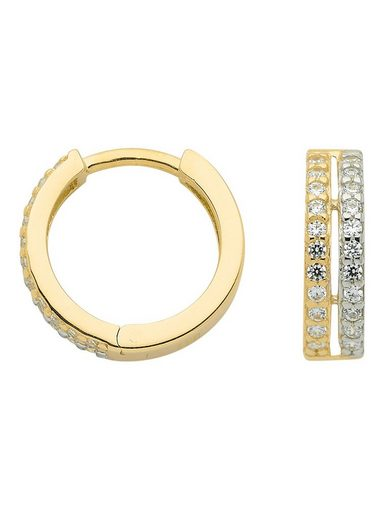 Adelia´s Paar Creolen »Gold 8 k (333) Ohrringe - Creolen«, 8 k 333 Gelbgold mit Zirkonia
