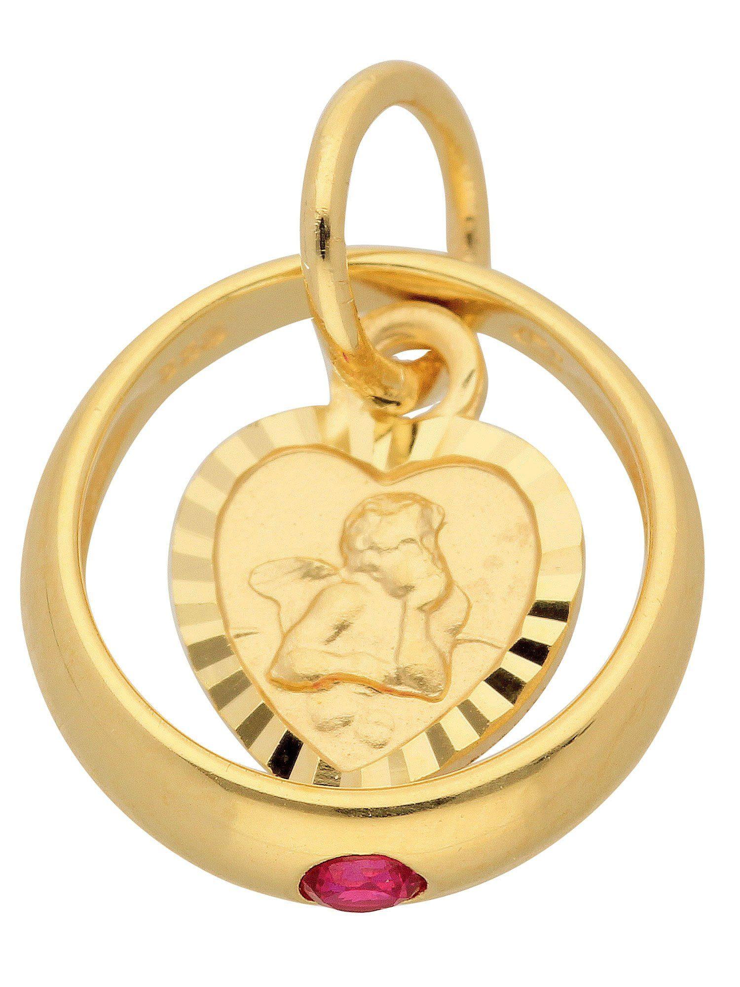 Adelia´s Kettenanhänger »Gold Anhänger« Taufring 8 k 333 Gelbgold mit Rubin Ø 1.06 cm