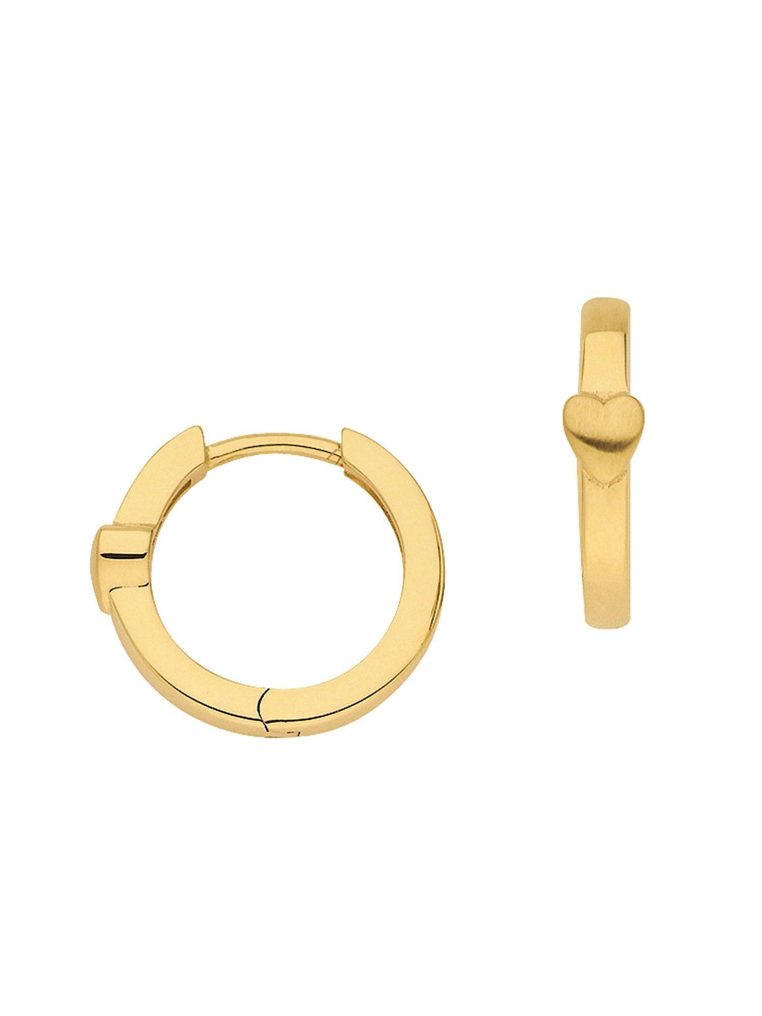Adelia´s Paar Creolen »Gold Ohrringe« Herz 8 k 333 Gelbgold Ø 1.4 cm