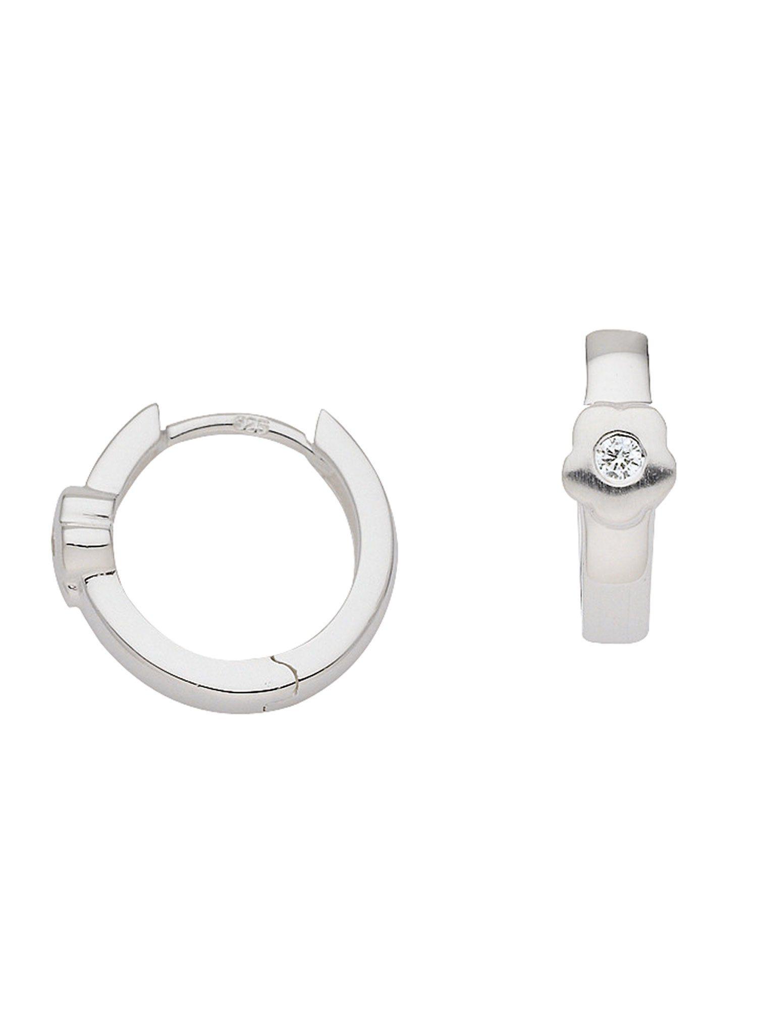 Adelia´s Paar Creolen »Silber Ohrringe« Blüte 925 Sterling Silber mit Zirkonia Ø 1.33 cm | Schmuck > Ohrschmuck & Ohrringe > Creolen | Silber | Adelia´s