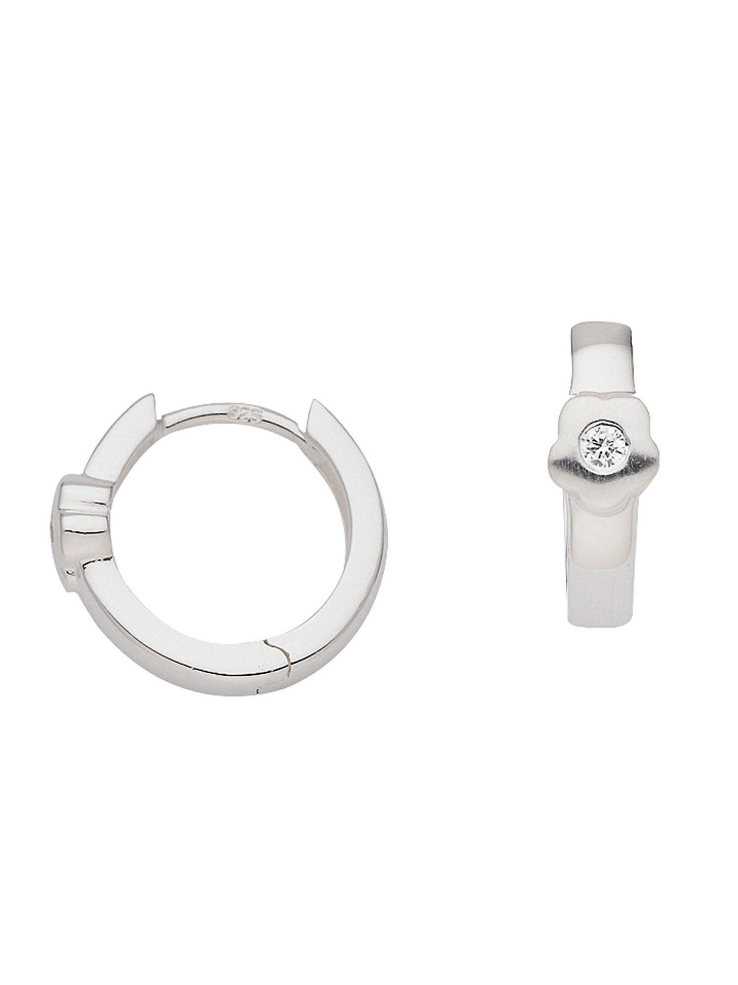 Adelia´s Paar Creolen »Silber 925 Sterling Silver Ohrringe - Creolen« Blüte 925 Sterling Silber mit Zirkonia Ø 1.33 cm