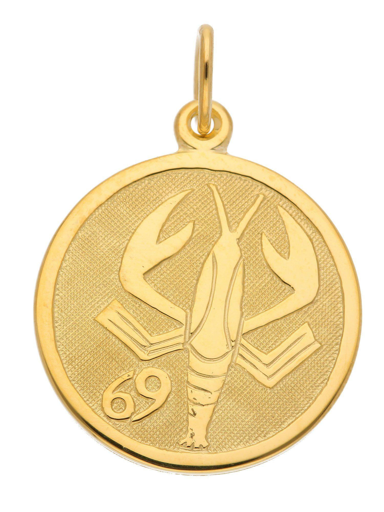 Adelia´s Kettenanhänger »Sternzeichen Gold Anhänger« Krebs 8 k 333 Gelbgold Ø 1.6 cm