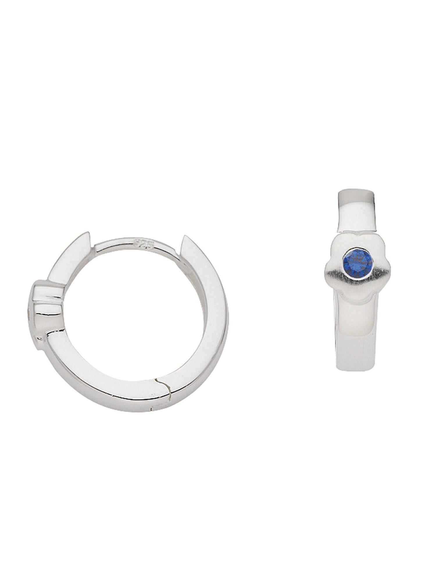 Adelia´s Paar Creolen »Silber Ohrringe« Blüte 925 Sterling Silber mit synthetischer Spinell Ø 1.33 cm