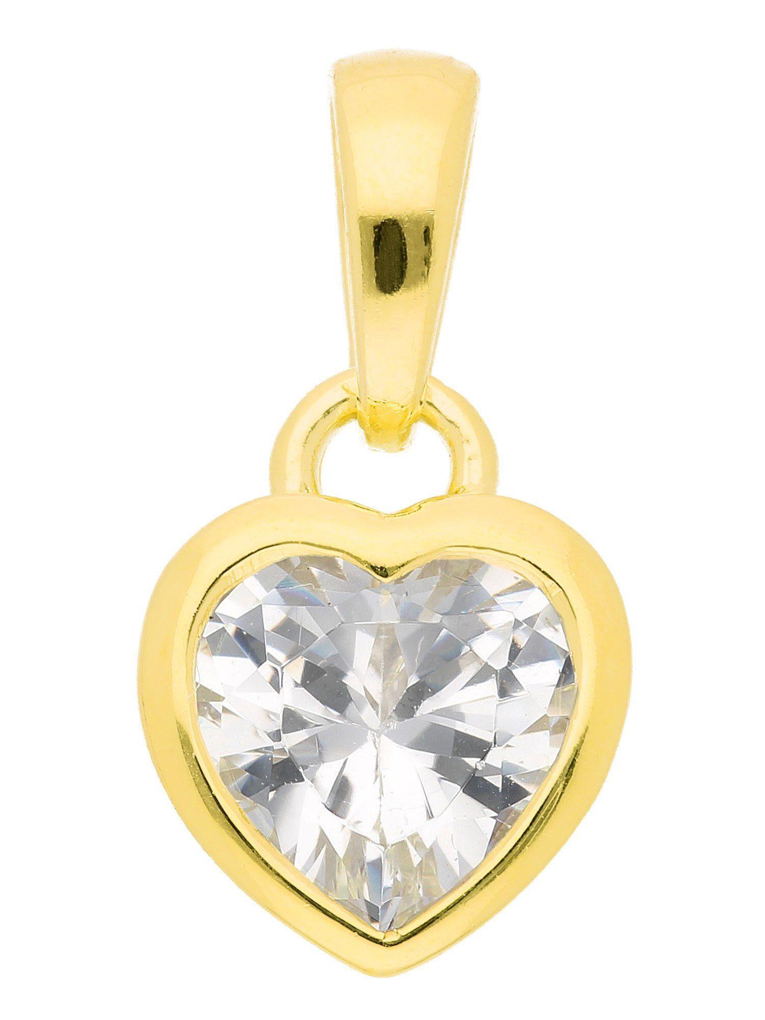 Adelia´s Kettenanhänger »Silber Anhänger« Herz 925 Sterling Silber vergoldet mit Zirkonia