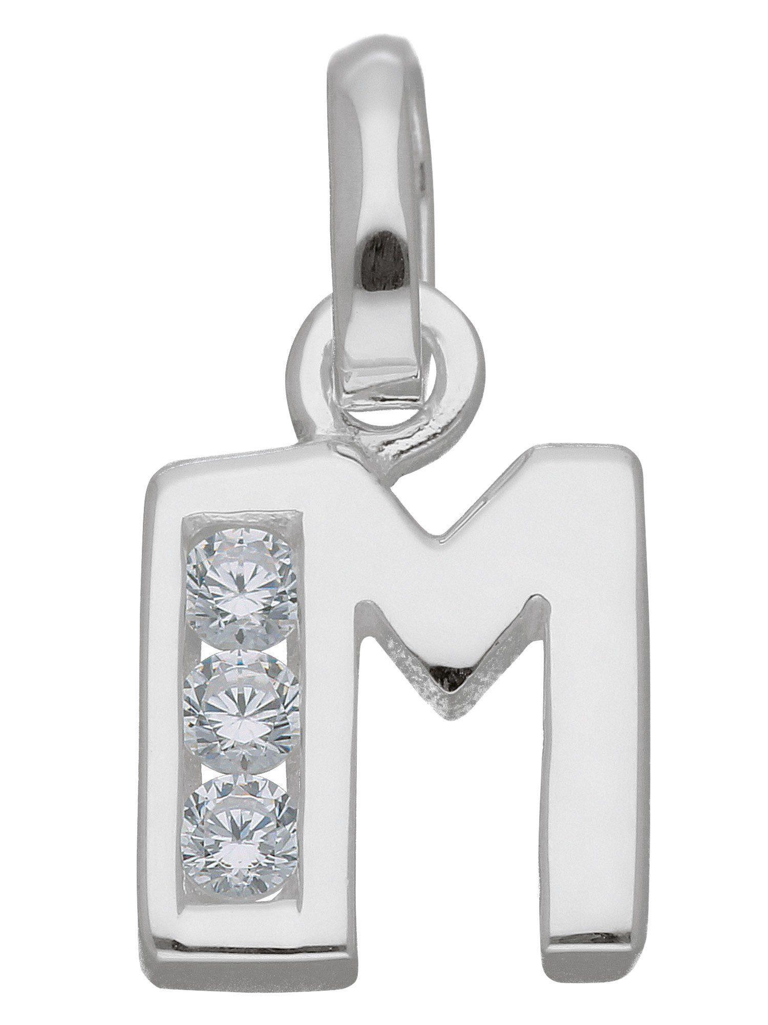 Adelia´s Buchstabenanhänger »Silber Buchstabenanhänger« 925 Sterling Silber mit Zirkonia